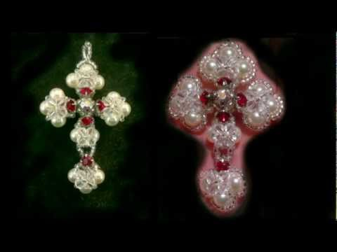 Beading4perfectionists : Victorian cross made with Swarovski and miyuki beads tutorial
